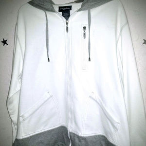 White Zip-Up Hoodie w Gray Accents - NWOT!